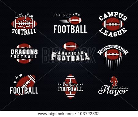 American football team, college badges, logos, labels, insignias, icons in retro style. Graphic vint