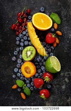 Fruits on Marble Background. Summer or Spring Organic Fruits. Agriculture, Gardening, Harvest Concept