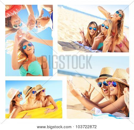 A collage of pictures of women having fun on the beach