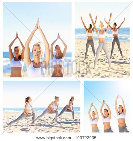 A collage of pictures with girls practising yoga on the beach