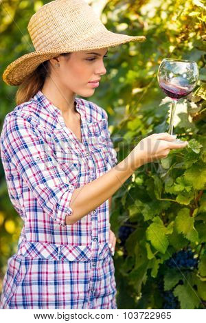 Pretty young woman enjoying a glass of wine in the vineyard.