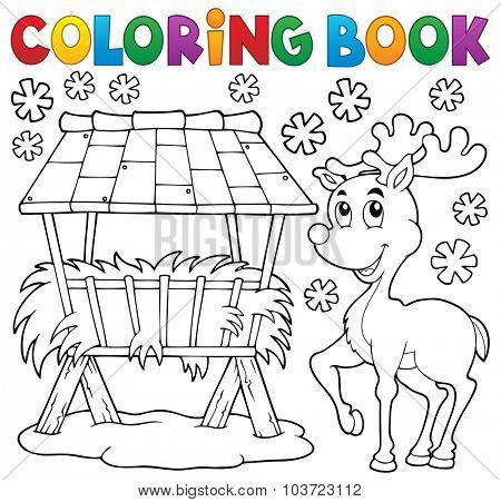 Coloring book hay rack and reindeer - eps10 vector illustration.