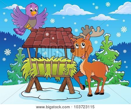 Hay rack with reindeer and bird - eps10 vector illustration.