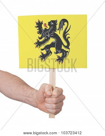 Hand Holding Small Card - Flag Of Flanders