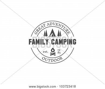 Retro family camping badge, outdoor logo, emblem and label. Forest campsite concept, monochrome desi