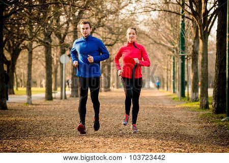 Couple jogging together