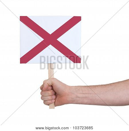 Hand Holding Small Card - Flag Of Alabama