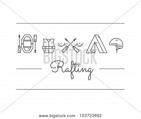 Rafting equipment icon collection.  Outdoors style, thin line monochrome design. Stylish elements fo