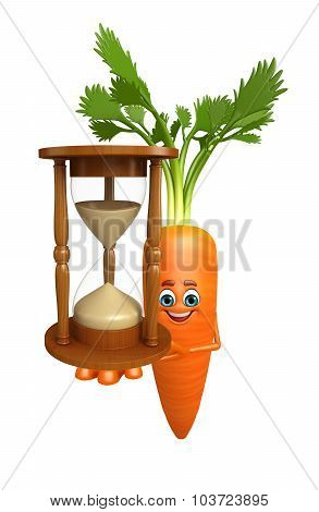 Cartoon Character Of  Carrot With Sand Clock