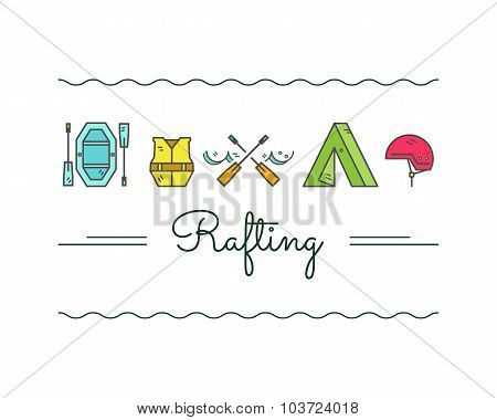 Rafting equipment icon collection.  Outdoors style, thin line color design. Stylish elements for web