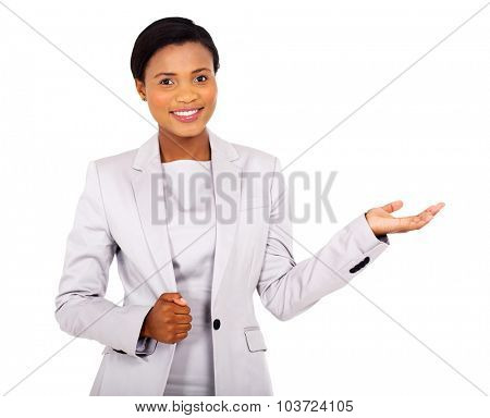 pretty african american businesswoman presenting on white background