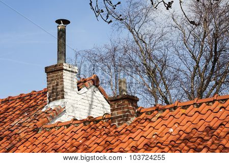 Chimneys On A Red Roof