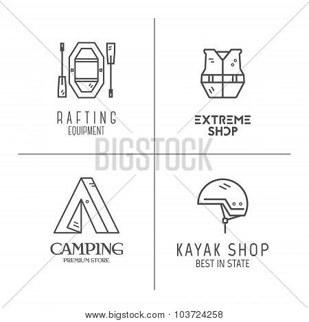 Collection of minimalistic rafting logos, labels or line badges. Outdoor adventure, monochrome desig