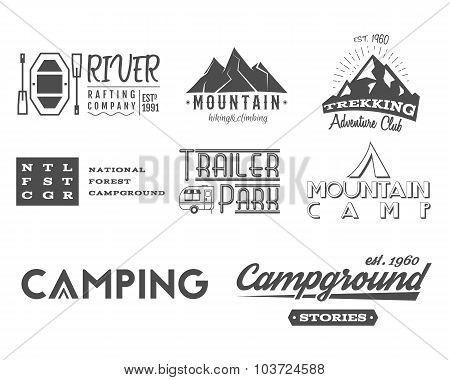 Set of retro badges and label logo graphics. Camping, mountain emblems and travel, RV insignia. Mono
