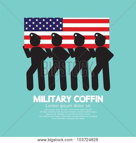 Military Coffin Funeral Parade Vector Illustration.