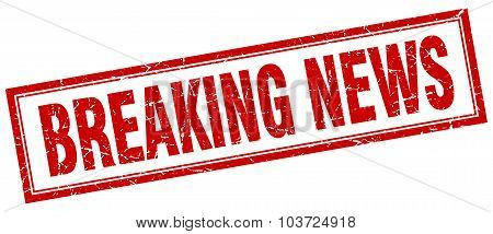 Breaking News Red Square Grunge Stamp On White