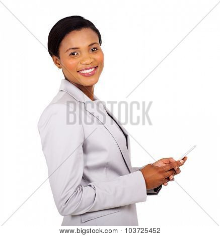 beautiful african businesswoman holding smart phone isolated on white background