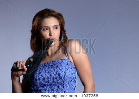 Model With Gun