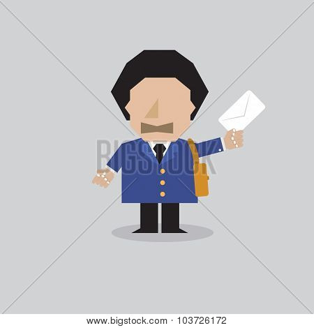 Postman Character Vector Illustration.