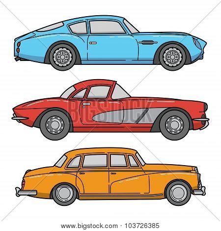 Vector Set Of Retro Cars