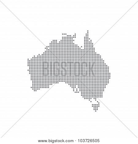 Detailed map of Australia in the dot. Vector illustration