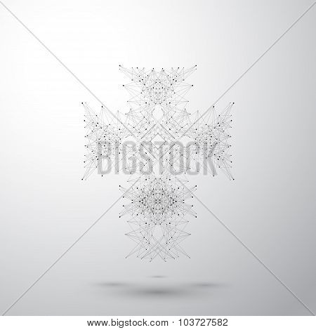 Religious cross on the gray background. Connected lines with dots. Vector illustration