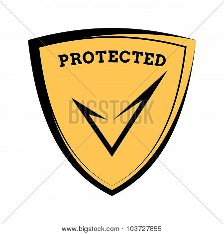 Shield Icon - Protected, Black And Yellow Template