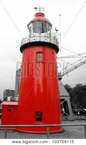 one red Lighthouse in Europe on the B/W background
