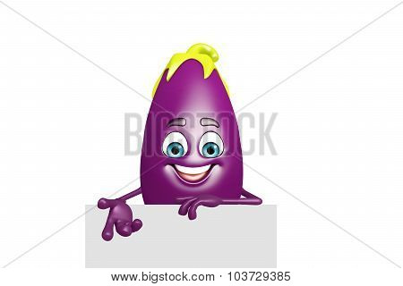 Cartoon Character Of  Brinjal Fruit With Sign