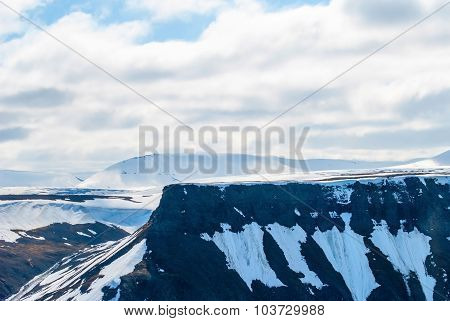 View Over Snowy Mountains In Svalbard, Arctic