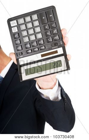Financier businessman hand with calculator.