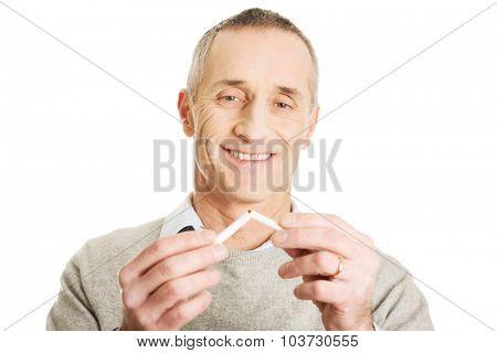 Successful mature man quits smoking