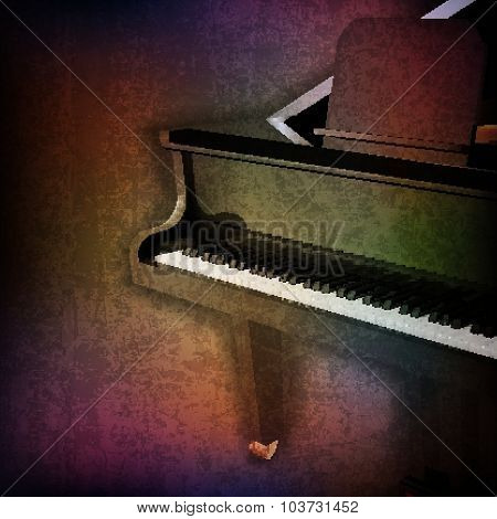 Abstract Grunge Background With Grand Piano