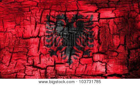 Flag of Albania, Albanian Flag painted on cracked ground.