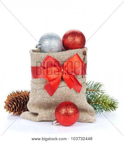 Christmas decor bag. Isolated on white background