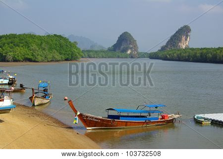 Krabi, Thailand - January 9, 2014: View Of The Embankment Krabi