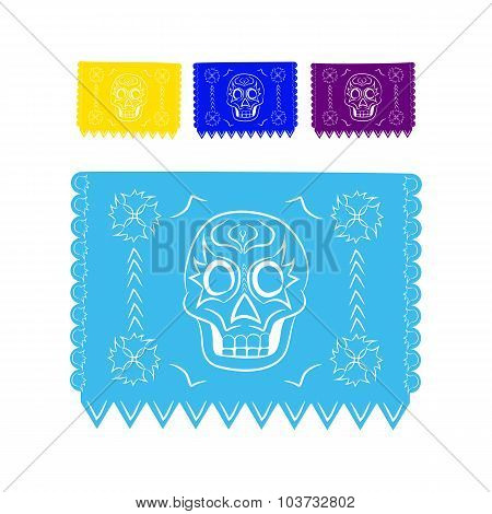 paper colored sticker in traditional Mexican style and patterns for backgrounds skulls, celebrations