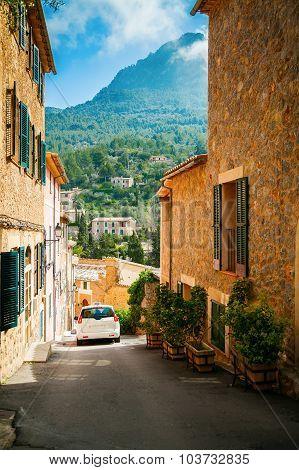 Street In The Mountain Village Deia