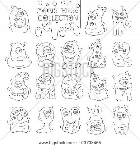 Set Of Cute Monsters And Aliens