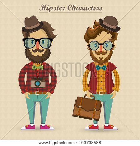 Hipster characters vector illustration