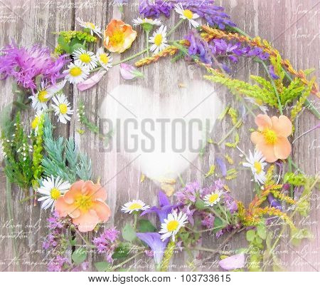 Beautiful Wreath Of Wildflowers From Carpathian Valleys.