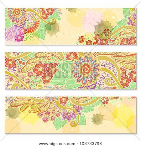 Paisley batik background. Set of three abstract ethnic cards.