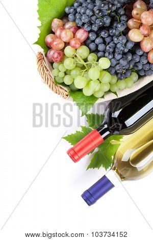Bunch of red, purple and white grapes and wine bottles. Isolated on white background with copy space