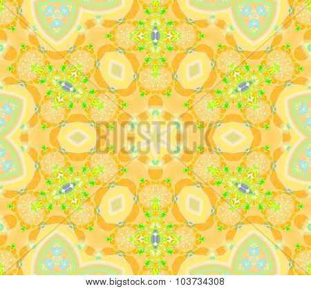 Seamless floral pattern yellow orange green