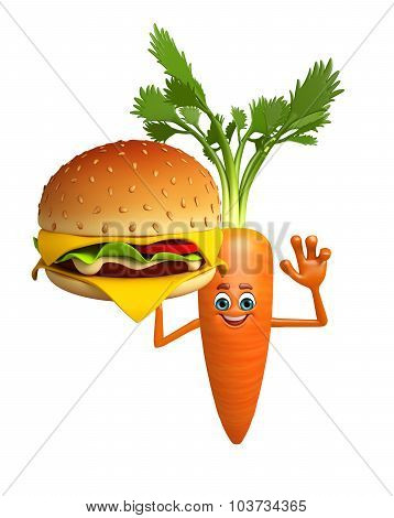 Cartoon Character Of  Carrot With Burger