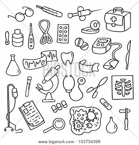 Cute Cartoon Set Of Laboratory Equipments