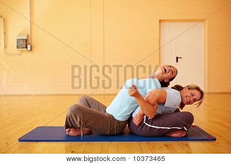 Female Friends Exercising In Gym