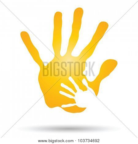 Vector concept or conceptual human or mother and child hand prints painted, isolated on white background