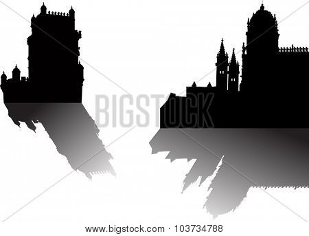 illustration with fortress silhouettes isolated on white background