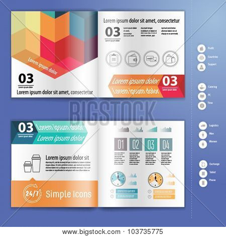 Business brochure, booklet mockup design template, with infographic. Layout template.